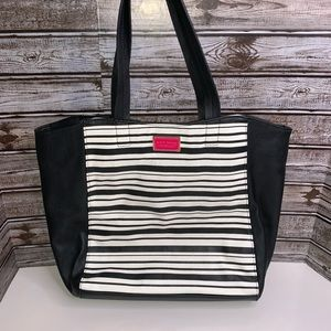 Betsey Johnson striped purse tote bag rose lined
